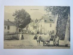 BAGNERES-de-BIGORRE  (Hautes-Pyrénées)  :  PONT De Pierre Et Route De Toulouse  -  Bel  ATTELAGE   - Bagneres De Bigorre