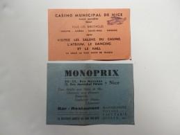 2 Tickets D'entrée Pour La Visite  Du Casino De Nice. Pubs Au Dos. Voir Scan. - Tickets D'entrée