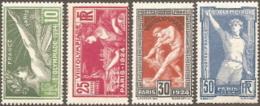 France,  Scott 2016 # 198-201,  Issued 1924,  Set Of 4,  MLH,  Cat $ 40.75,   1924 Olympics - France