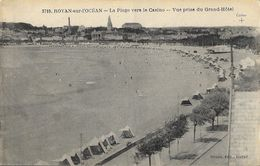 Royan-sur-L'Océan - Publicité Grand Hôtel - La Plage Vers Le Casino, Vue Prise Du Grand-Hôtel (format CPA) - Publicités