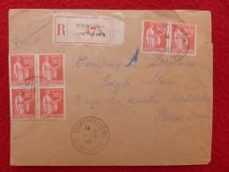 CACHET VIGNEUX SUR SEINE BLOC TIMBRE TYPE PAIX LETTRE RECOMMANDE - Postmark Collection (Covers)