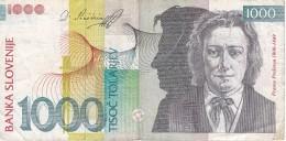 BILLETE DE ESLOVENIA DE 1000 TOLARJEV DEL AÑO 2003 SERIE BH  (BANKNOTE) - Slovénie