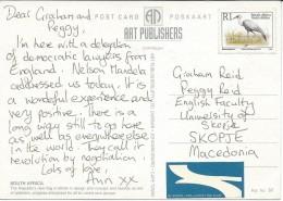 Birds On Stamps. South Africa.postcard Via Macedonia.Postcard Motive Flags - Oiseaux