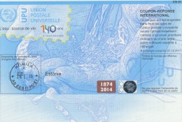 I536 IRC - International Reply Coupon, Estonia 20140730 1874-2014 - Estonia