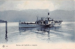 "04903 ""(VB)  BAVENO - LAGO MAGGIORE - ARRIVO DEL BATTELLO A VAPORE ITALIA"" ANIMATA, BATTELLO. CART  SPED 1907 - Verbania"