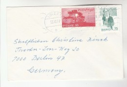 1977 Lulea SWEDEN COVER  Stamps TREE, MUSIC To Germany - Trees