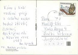 Birds On Stamps. Czechoslovakia Postcard Via Yugoslavia - Oiseaux