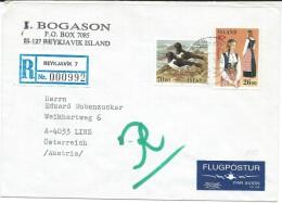 Birds On Stamps.Island R - Letter Via Austria - Oiseaux