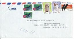 Birds On Stamps.Australia Letter Via Macedonia.butterfly - Oiseaux