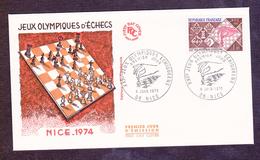 ENVELOPPE PREMIER JOUR - JEUX OLYMPIQUES D ECHEC - NICE - 8 JUIN 1974 - FDC
