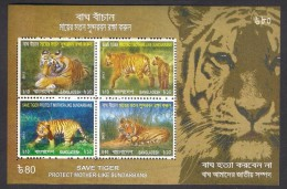 BANGLADESH 2013 MNH - Save Tiger, Protect Mother Like Sundarbans, Miniature Sheet - Big Cats (cats Of Prey)