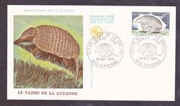 ENVELOPPE PREMIER JOUR - LE TATOU DE LA GUYANNE - 19 OCTOBRE 1974 - FDC