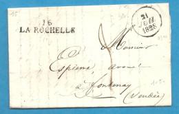Charente Inférieure - La Rochelle Pour Fontenay . 1828 - Marcophilie (Lettres)