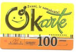 "Latvia  Lettland / Lettonia Telefonkarte 2007 -2008 - 100 Days Prepaid Card Used ""O"" Card - Latvia"