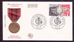 ENVELOPPE PREMIER JOUR - MEDAILLE DE LA RESISTANCE FRANCAISE - 23 NOVEMBRE 1974 - FDC