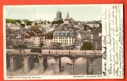 FIA-01  Lausanne Le Grand Pont. Tramway, Attelage. Précurseur. Cachet 1903, Petit Pli Angle - VD Vaud