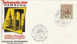 Interposta Hamburg 1959 Offizieller Erstagsbrief Mit Sondermarke Und Stempel - [7] Federal Republic