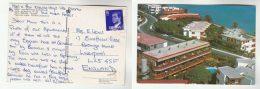 SPAIN Stamps COVER (postcard CARINA APARTMENTS Playa Del Ingles) To GB,  Hotel ? - 1931-Hoy: 2ª República - ... Juan Carlos I