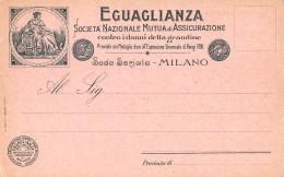 """06346 """"EGUAGLIANZA - SOCIETA' NAZ. DI ASSICURAZIONE CONTRO LA GRANDINE - MILANO"""" CART. ILL. ORIG. NON SPEDITA - Commercio"""