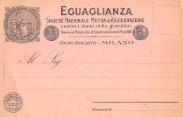 """06347 """"EGUAGLIANZA - SOCIETA' NAZ. DI ASSICURAZIONE CONTRO LA GRANDINE - MILANO"""" CART. ILL. ORIG. NON SPEDITA - Commercio"""