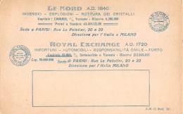"""06348 """"LE NORD A. D. 1840 / ROYAL EXCHANGE A. D. 1720  - COMPAGNIE ASSICURAZIONI - MILANO"""" CART. ILL. ORIG. NON SPEDITA - Commercio"""