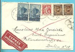 339+341+389 Op Brief Per EXPRES Met Stempel LIEGE Naar Berlin (Duitsland), Verso Treinstempel KOLN-HERBESTHAL (ambulant) - 1931-1934 Kepi