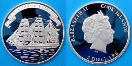 COOK ISLANDS 2 $ 2008 ARGENTO PROOF SILVER ALEXANDER VON HUMBOLDT SHIP RARE VELIERO PESO 7g TITOLO 0,999 CONSERVAZIONE F - Islas Cook