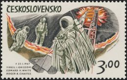 Czechoslovakia / Stamps (1973) 2023: Space Exploration (American Astronauts) - Edward Higgins White (1930-1967) - Space