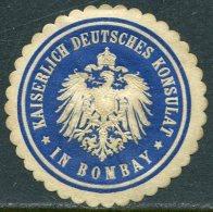 Germany Deutschland India Indien BOMBAY KONSULAT Consular Letter Seal Siegelmarke Vignette - Sonstige