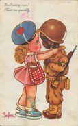 Illustration Leclerc: Embrassez-moi! Kiss Me Quickly - Fillette Et G.I. - Leclerc