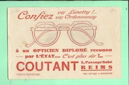 BUVARD: OPTICIEN, Coutant Passage Subé à REIMS - Buvards, Protège-cahiers Illustrés