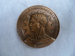 Médaille De Table Bronze Signée R B BARON Attribuée Baillet AISNE. - Autres