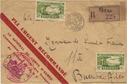 """1940- Env. De DAKAR  Recc. étiquette Rose """" Pli Urgent Reccommandé"""" Affr. à 2,50 Du Général De Corps D´Armée"""