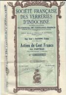 Société Française Des Verreries D'INDOCHINE/Haiphong / TONKIN/Action De 100 Francs Au Porteur/1929  ACT116 - Industrie