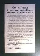 YONNE FTP MAQUIS TRACT LA NATION A TOUS LES FRANCS-TIREURS PARTISANS ET PARTISANNES ! FFI RESISTANCE WW2 - Documents
