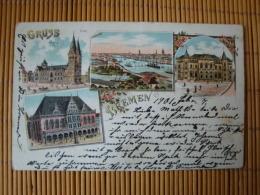 Litho Gruss Aus Bremen, Dom, Börse, Rathaus, Gelaufen 1901 - Bremen