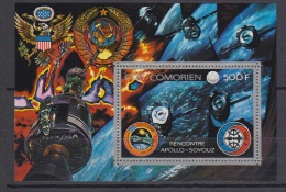 1976-COMORES-.BLOC.N°1A** COOPERATION SPACIALE U.S.A-U.R.S.S - Komoren (1975-...)