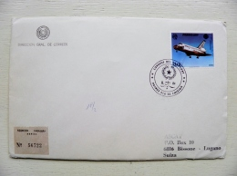 Cover From Paraguay To Suisse Registered 1984 Special Fdc Cancel Plane Airplane Avion Space Shuttle Challenger - Paraguay
