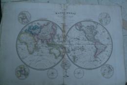 CARTE GEOGRAPHIQUE -MAPPEMONDE DIVISEE EN 2 HEMISPHERES PAR HERISSON -GEOGRAPHE 1839- AVEC DECOUVERTES - Geographical Maps