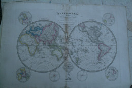 CARTE GEOGRAPHIQUE -MAPPEMONDE DIVISEE EN 2 HEMISPHERES PAR HERISSON -GEOGRAPHE 1839- AVEC DECOUVERTES - Cartes Géographiques