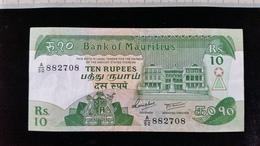 3 Billets De 10 Pupees, Ile Maurice - Eiland Man/ Anglo-Normandische Eilanden