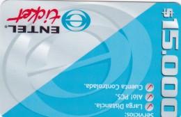 Chile, Entel Ticket, $ 15.000 Blue And Grey - 3 Points, 2 Scans.  Logo Y Diseño Bicolor + Servicios - Chile