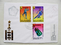 Cover From Mongolia To Suisse 1980 Fdc Special Cancel Registered Sport Olympic Games Lake Placid Ski Slalom Bobsley - Mongolia