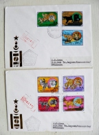 2 Covers From Mongolia To Suisse 1979 Fdc Special Cancel Animals Cats Lions Tigers Jaguar Lynx Panthera Leo Cheetah - Mongolia