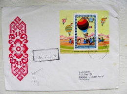 Cover From Mongolia To Suisse 1977 Fdc Special Cancel M/s Block Hot Air Balloon Unicef - Mongolia