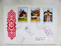 Cover From Mongolia To Italy 1975 Fdc Special Cancel Registered Horse Musical Instrument - Mongolia