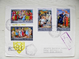 2 Scans Cover From Mongolia To Italy 1973 Fdc Special Cancel Registered Horse Musical Instrument Folk Costumes - Mongolia
