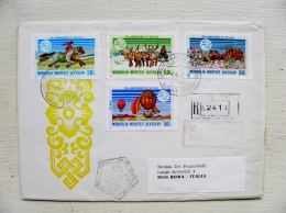 2 Scans Cover From Mongolia To Italy 1974 Fdc Special Cancel Registered Upu Hot Air Balloon Horses Deers Post Butterfly - Mongolia