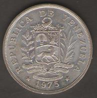 VENEZUELA 50 BOLIVARES 1975 AG SILVER - Venezuela