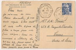 HEXAGONAL Tireté VILLANDRY Indre Et Loire Sur Carte Postale. 1951. - Postmark Collection (Covers)